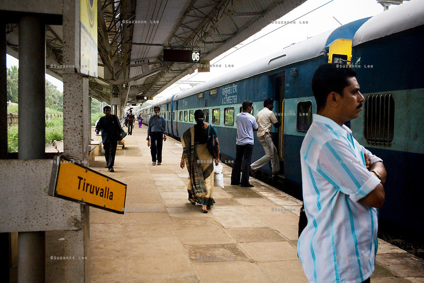 The Himsagar Express 6318 stops for 2 min at Tiruvalla stn., Kerala on 9th July 2009.. .6318 / Himsagar Express, India's longest single train journey, spanning 3720 kms, going from the mountains (Hima) to the seas (Sagar), from Jammu and Kashmir state of the Indian Himalayas to Kanyakumari, which is the southern most tip of India...Photo by Suzanne Lee / for The National