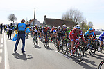 The peloton pass through the first feed zone at Steenkerke during Gent-Wevelgem in Flanders Fields 2017 running 249km from Denieze to Wevelgem, Flanders, Belgium. 26th March 2017.<br /> Picture: Eoin Clarke | Cyclefile<br /> <br /> <br /> All photos usage must carry mandatory copyright credit (&copy; Cyclefile | Eoin Clarke)