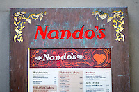Nando's Restaurant Menu and Sign - May 2014.