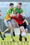 Patrick O' Shea Kenmare in action against Daniel Egan Kilfenora in the Munster Intermediate Club Football Championship Semi-Final at Fitzgerald Stadium on Sunday.