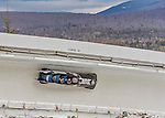 9 January 2016: United States of America pilot Nick Cunningham leads his 4-man team as they cruise through Curve 14 during their second run of the day at the BMW IBSF World Cup Bobsled Championships at the Olympic Sports Track in Lake Placid, New York, USA. Cunningham's team came in 9th for the day, with a 2-run combined time of 1:50.72. Mandatory Credit: Ed Wolfstein Photo *** RAW (NEF) Image File Available ***