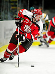 12 December 2009: St. Lawrence University Saints' defenseman Jeff Caister, a Senior from Mississauga, Ontario, in action against the University of Vermont Catamounts at Gutterson Fieldhouse in Burlington, Vermont. The Catamounts shut out their former ECAC rival Saints 3-0. Mandatory Credit: Ed Wolfstein Photo