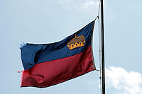 Liechtenstein  Vaduz  June 2008.The Flag Liechtenstein .