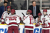 Rob Rassey (Harvard - Assistant Coach), Devin Tringale (Harvard - 22), Phil Zielonka (Harvard - 72), Nathan Krusko (Harvard - 13), Ted Donato (Harvard - Head Coach), Lewis Zerter-Gossage (Harvard - 77), John Marino (Harvard - 12) - The Harvard University Crimson defeated the Providence College Friars 3-0 in their NCAA East regional semi-final on Friday, March 24, 2017, at Dunkin' Donuts Center in Providence, Rhode Island.