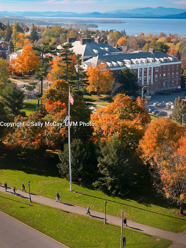 View of Waterman and Lake Champlain, Fall UVM Campus