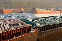 Barges along the Mississippi River in St. Paul, Minnesota