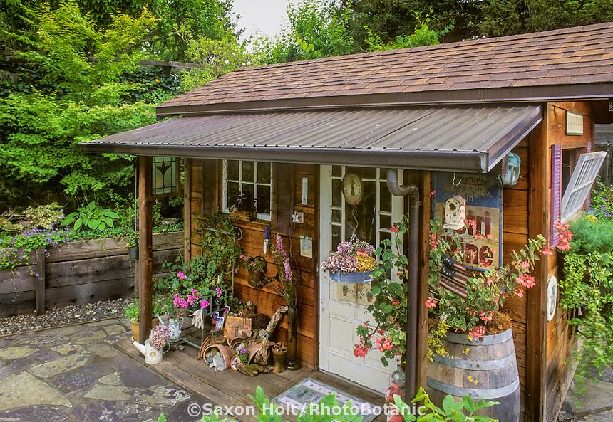 Decorated garden shed. Jaquie Tomke-Bosch Garden
