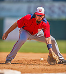 7 March 2013: Washington Nationals first baseman Chris Marrero warms up in the infield prior to a Spring Training game against the Houston Astros at Osceola County Stadium in Kissimmee, Florida. The Astros defeated the Nationals 4-2 in Grapefruit League play. Mandatory Credit: Ed Wolfstein Photo *** RAW (NEF) Image File Available ***