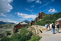 Tourists explore Kennecott Copper Mine, Wrangell St. Elias National Park, Alaska.