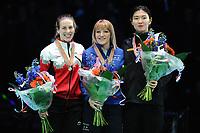 SHORT TRACK: ROTTERDAM: Ahoy, 11-03-2017, KPN ISU World Short Track Championships 2017, Podium 1500m Ladies, Marianne St-Gelais (CAN), Elise Christie (GBR), Suk Hee Shim (KOR), ©photo Martin de Jong