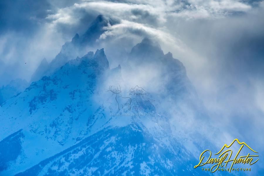 Jagged peaks, stormy day, Grand Teton National Park, Jackson Hole, Wyoming