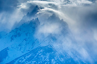 Jagged peaks, stormy day, Grand Teton National Park, Jackson Hole, Wyoming