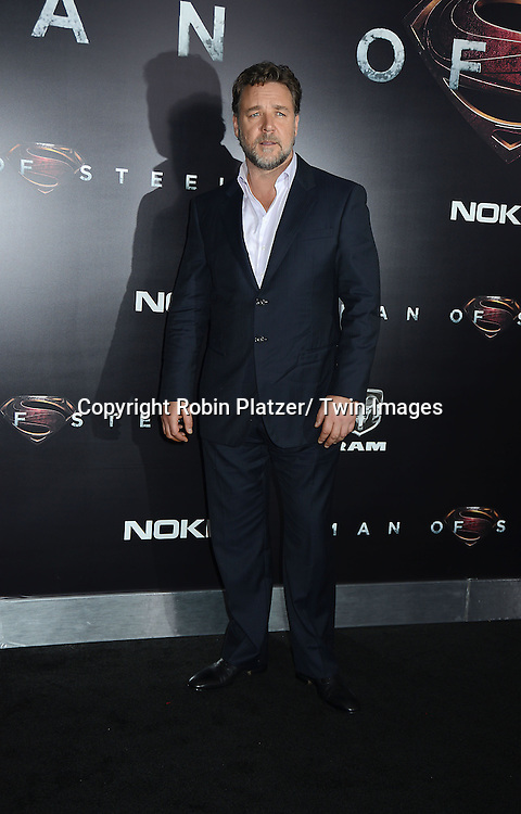 Russell Crowe attends the World Premiere of &quot;Man of Steel&quot; on June 10, 2013 at Alice Tully Hall in New York. The movie stars <br /> Henry Cavill, Amy Adams, Michael Shannon, Kevin Costner, Laurence Fishburne, Anje Traue, Ayelet Zurer, Christopher Meloni, Russell Crowe, Dylan Sprayberry, Michael Kelly,  Cooper Timberline, Christina Wren and Rebecca Buller.