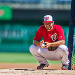 1 June 2014: Washington Nationals starting pitcher Gio Gonzalez takes a break on the mound as he pitches a simulated game before the team faces the Texas Rangers at Nationals Park in Washington, DC. The Nationals defeated the Rangers 10-2 to sweep their 3-game inter-league series. Mandatory Credit: Ed Wolfstein Photo *** RAW (NEF) Image File Available ***