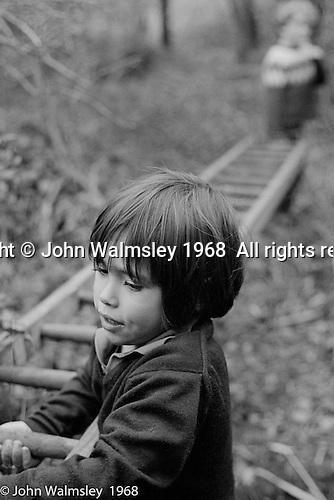Moving the ladder to a chosen tree, Summerhill school, Leiston, Suffolk, UK. 1968.