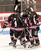 Rachel Llanes (NU - 11), Maggie DiMasi (NU - 4), Casey Pickett (NU - 14), Jordan Hampton (NU - 8) - The Northeastern University Huskies defeated the visiting Providence College Friars 8-7 on Sunday, January 20, 2013, at Matthews Arena in Boston, Massachusetts.