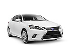 White 2014 Lexus CT 200h compact luxury hybrid hatchback car isolated on white background with clipping path