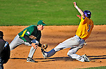 19 April 2009: University of Vermont Catamounts' shortstop Matt Duffy, a Sophomore from Milton, MA, gets an out at second against the University at Albany Great Danes at Historic Centennial Field in Burlington, Vermont. The Great Danes defeated the Catamounts 9-4 in the second game of a double-header. Sadly, the Catamounts are playing their last season of baseball, as the program has been marked for elimination due to budgetary constraints on the University. Mandatory Photo Credit: Ed Wolfstein Photo