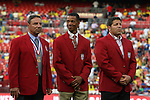 30 May 2012: The 2012 National Soccer Hall of Fame Inductees were honored on the field before the game. From left: Tony DiCicco, Desmond Armstrong, and Tony Meola. The Brazil Men's National Team defeated the United States Men's National Team 4-1 at Fedex Field in Landover, Maryland in an international friendly soccer match.