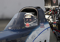 Nov 12, 2016; Pomona, CA, USA; NHRA top alcohol dragster driver Garrett Bateman during qualifying for the Auto Club Finals at Auto Club Raceway at Pomona. Mandatory Credit: Mark J. Rebilas-USA TODAY Sports