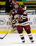 "19 January 2007: Boston College forward Pat Gannon from Arlington, MA, warms up prior to a Hockey East division matchup against the University of Vermont at Gutterson Fieldhouse in Burlington, Vermont. The UVM Catamounts defeated the BC Eagles 3-2 before a record setting 50th consecutive sellout at ""the Gut""...Mandatory Photo Credit: Ed Wolfstein Photo."