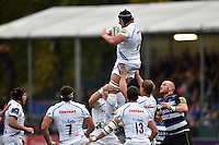 Mitch Lees of Exeter Chiefs claims the ball in the air. West Country Challenge Cup match, between Bath Rugby and Exeter Chiefs on October 10, 2015 at the Recreation Ground in Bath, England. Photo by: Patrick Khachfe / Onside Images
