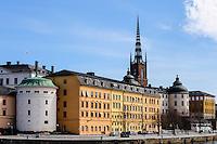 Sweden, Stockholm. Birger Jarl's Tower and Riddarholmskyrkan.