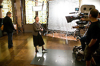 "8 May 2006 - North Bergen, NJ - French actress Leslie Caron (C) and Connie Nielsen (L) shoot a scene on the studio set of television show ""Law & Order: SVU"" in North Bergen, USA, 8 May 2006. In this rare appearance in front of American television cameras, Caron, 74, plays a French victim of past sexual molestation in an episode entitled ""Recall"" due to air in the fall. Caron starred in Hollywood classics such as ""An American in Paris"" (1951), ""Lili"" (1953), ""Gigi"" (1958). More recently she appeared in ""Chocolat"" (2000) and ""Le Divorce"" (2003). Photo Credit: David Brabyn"