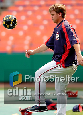 29 June 2005: Brad Wilkerson, outfielder for the Washington Nationals, plays with a soccer ball prior to a game against the Pittsburgh Pirates. The Nationals rallied to defeat the Pirates 3-2 in a rain delayed game at RFK Stadium in Washington, DC.  Mandatory Photo Credit: Ed Wolfstein