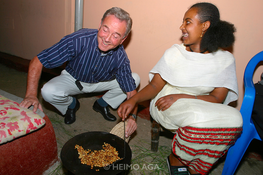 GONDAR, GONDAR/ETHIOPIA..Coffee ceremony at the end of a traditional Ethiopian dinner at a local restaurant..(Photo by Heimo Aga)