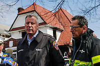 NYC mayor Bill de Blasio speaks to the media in front of the house where at least 7 children died during the fire in Brooklyn, New York. 21.03.2015. Eduardo Munoz Alvarez/VIEWpress.