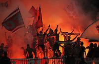 FUSSBALL   CHAMPIONS LEAGUE   SAISON 2011/2012  Qualifikation  23.08.2011 FC Zuerich - FC Bayern Muenchen FC Bayern Ultra -Fans feiern mit Bengalischen Feuer und Fahnen im Zuericher Lezigrund Stadion