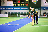 Australian Under 19 Girls' Rikki-Lee Rimmington watches from the non-striker's end, vs South Africa.<br /> 2003 Indoor Cricket World Under 19 Championships, Christchurch, New Zealand