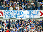 Rangers fans with a banner as Celtic fail in the UEFA Cup Final to Porto and Rangers are crowned SPL Champions for a record fiftieth time.