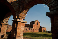 Evening light sweeps over the ruins of the Jesuit mission church at Trinidad de Paraná (acute accent on final a), Paraguay. Scores of Jesuit missions in the area where Paraguay, Argentina and Brazil meet were built in the 17th century and abandoned when the Jesuits were expelled in the 18th century. Ruins of some of these missions still haunt hilltops in the region. (Kevin Moloney for the New York Times)