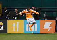 Boniek Garcia (27) of Houston Dynamo celebrates his goal during the game at RFK Stadium in Washington,DC. D.C. United tied the Houston Dynamo, 1-1.  With the tie, Houston won the Eastern Conference and advanced to the MLS Cup.