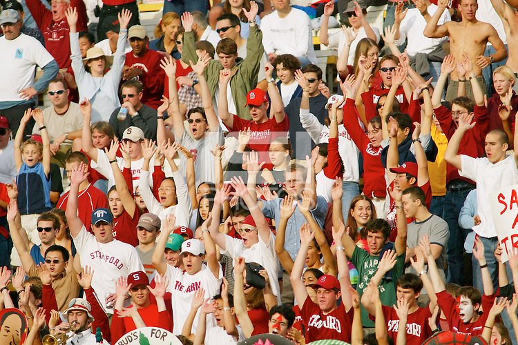 Fans on Senior Day during Stanford's 31-21 loss to Oregon State on November 16, 2002.<br />Photo credit mandatory: Gonzalesphoto.com<br />USAGE: Stanford Athletics internal/promotional usage only. Other third party usage subject to rights fee: Contact david@gonzalesphoto.com for more information.