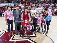 Stanford senior Toni Kokenis, celebrates after the Stanford women's basketball  vs Washington State at Maples Pavilion, Stanford, California on March 1, 2014.