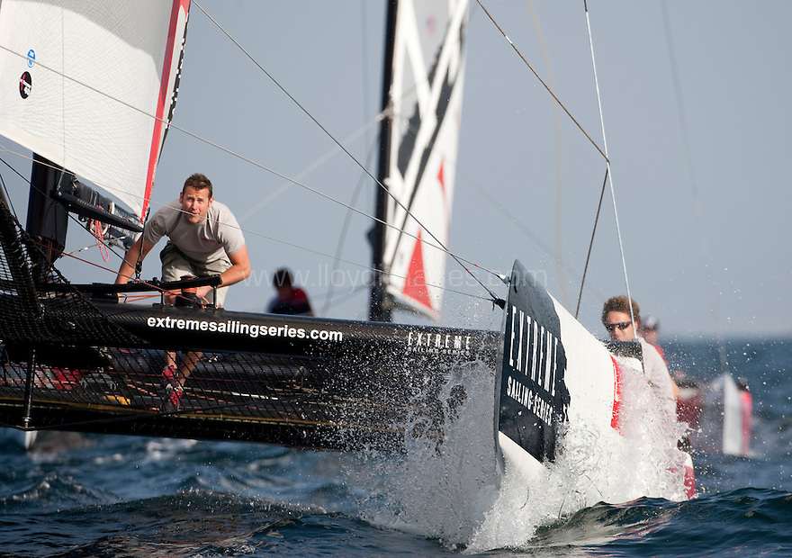 Extreme Sailing Series 2011. Leg 1. Muscat. Oman.Luna Rossa during a practice day.