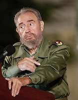 "Cuban President Fidel Castro, gestures during a commemoration of ""Battles of Ideas"", Tuesday, November 5, 2005 in Cardenas City, Matanzas, Cuba. . Credit: Jorge Rey/MediaPunch"