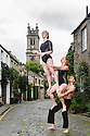 Members of Australian circus troupe, Circa, limber up in Circus Lane, Stockbridge, ahead of their run at the Underbelly, as part of the Edinburgh Festival Fringe. L to r: Lauren Herley, Lisa Goldsworthy, Jarred Dewey.