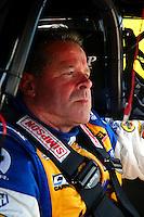Mar 16, 2014; Gainesville, FL, USA; NHRA pro stock driver Allen Johnson during the Gatornationals at Gainesville Raceway Mandatory Credit: Mark J. Rebilas-USA TODAY Sports