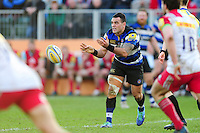 Kahn Fotuali'i of Bath Rugby passes the ball. Aviva Premiership match, between Bath Rugby and Harlequins on February 18, 2017 at the Recreation Ground in Bath, England. Photo by: Patrick Khachfe / Onside Images