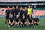 18 July 2009: Washington's starters pose for a team photo. Front row (l to r): Rebecca Moros, Becky Sauerbrunn, Sonia Bompastor (FRA), Jill Gilbeau, Lisa De Vanna (AUS). Back row (l to r): Homare Sawa (JPN), Ali Krieger, Alex Singer, Lori Lindsey, Sarah Senty, Kati Jo Spisak. The Washington Freedom defeated Saint Louis Athletica 1-0 at the RFK Stadium in Washington, DC in a regular season Women's Professional Soccer game.