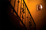 A tile of the Virgin Mary in the stairwell at Casa Argentina, a hostel in the northern Guatemalan town of Xela.
