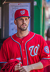 26 May 2013: Washington Nationals infielder Jeff Kobernus stands in the dugout prior to a game against the Philadelphia Phillies at Nationals Park in Washington, DC. The Nationals defeated the Phillies 6-1 to take the rubber game of their 3-game weekend series. Mandatory Credit: Ed Wolfstein Photo *** RAW (NEF) Image File Available ***
