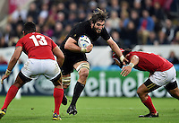 Sam Whitelock of New Zealand takes on the Tonga defence. Rugby World Cup Pool C match between New Zealand and Tonga on October 9, 2015 at St James' Park in Newcastle, England. Photo by: Patrick Khachfe / Onside Images