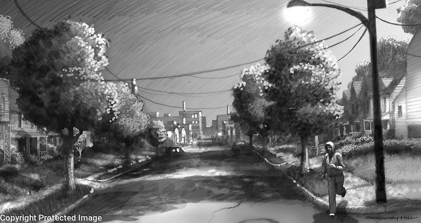 I did several sketches for this, trying to capture the right feel. A young person in a hoodie runs through predawn streets… slightly menacing….