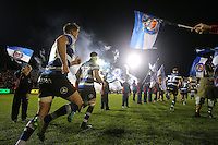 The Bath Rugby team run out onto the field. Aviva Premiership match, between Bath Rugby and Bristol Rugby on November 18, 2016 at the Recreation Ground in Bath, England. Photo by: Rogan Thomson / JMP for Onside Images