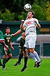 12 September 2010: Cornell University Big Red midfielder Jimmy Lannon, a Junior from Tinton Falls, NJ, heads the ball against the University of Vermont Catamounts at Centennial Field in Burlington, Vermont. The Catamounts edged out the Big Red 2-1. Mandatory Credit: Ed Wolfstein Photo